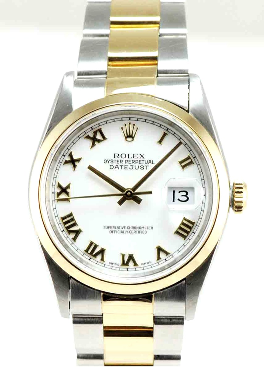 Men's 36mm Stainless Steel & 18Kt Yellow Gold Rolex DateJust Model No: 16203