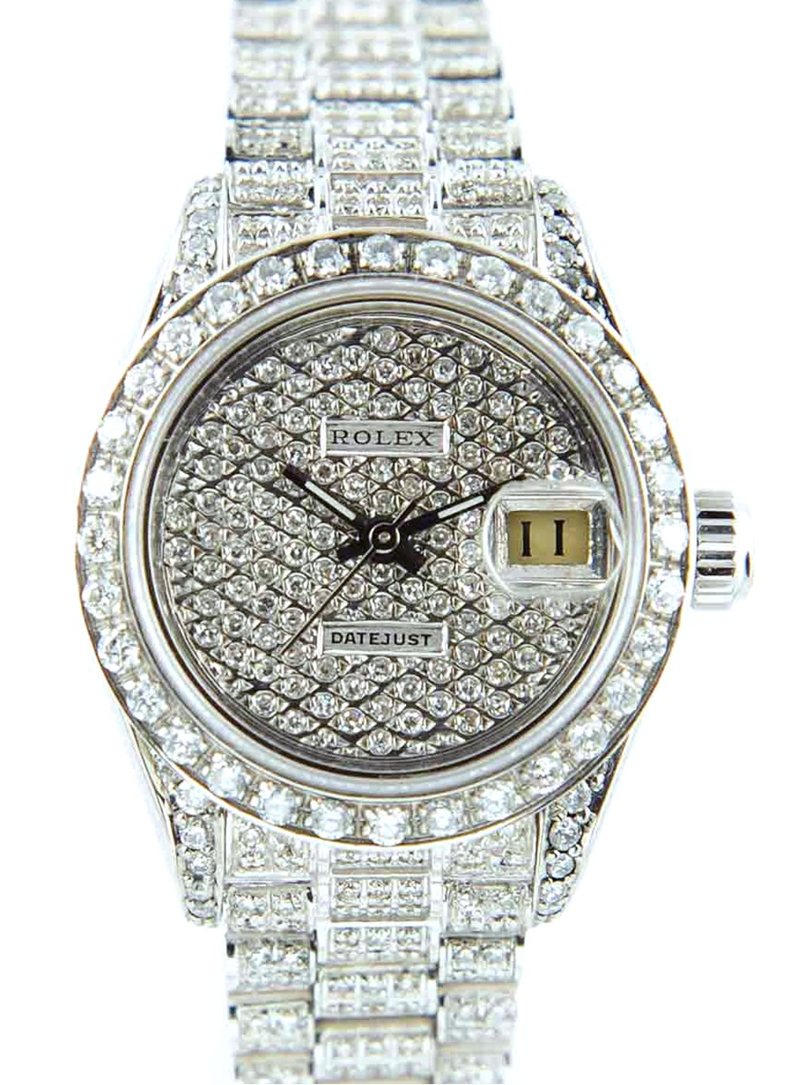 Rolex Lady Datejust with Custom Diamond Dial, Bezel & Lugs Full Diamond Bracelet