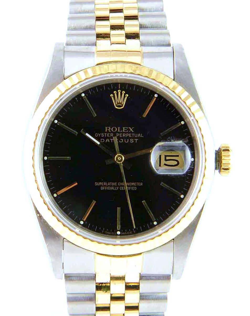 Men's 36mm Stainless Steel & 18Kt Gold Rolex DateJust Model No:16233