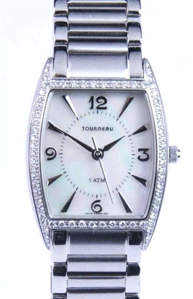 ladies tourneau watch with mother of pearl dial and diamond bezel nationalwatchcom