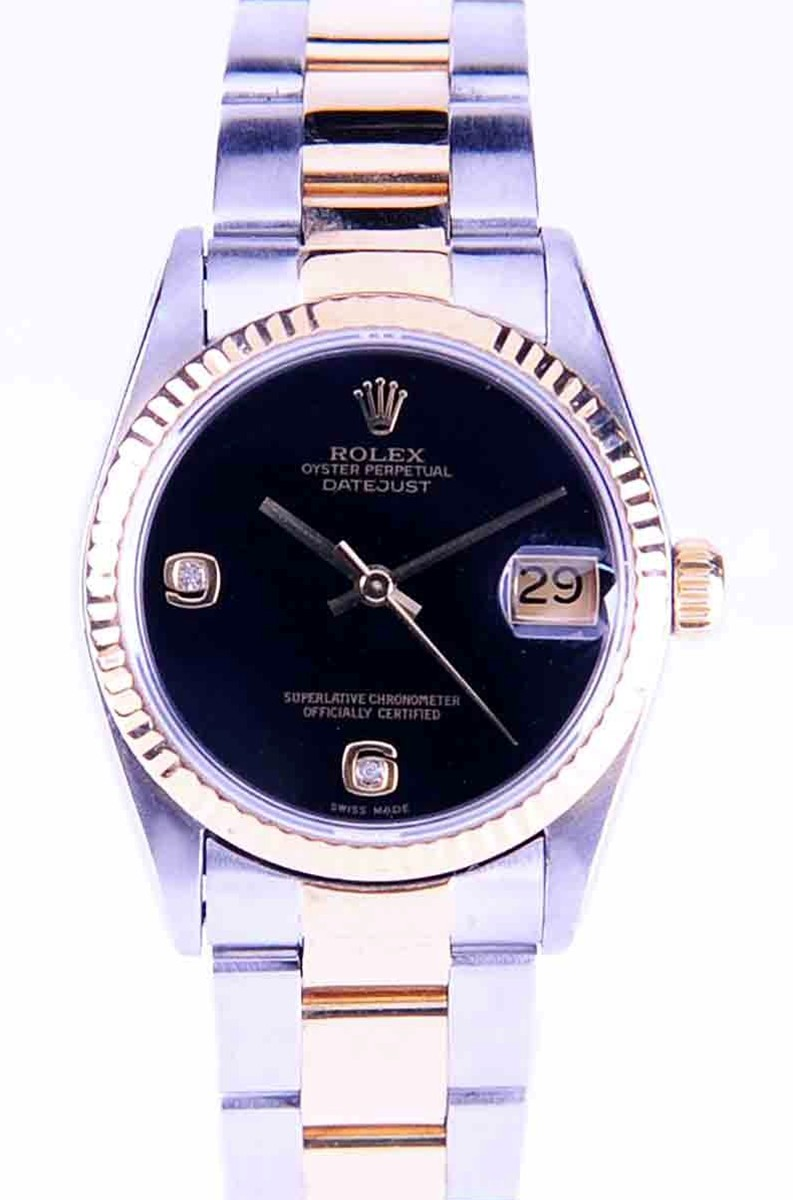 Rolex Mid-Size DateJust Steel & 18kt with Factory Onyx & Diamond Dial