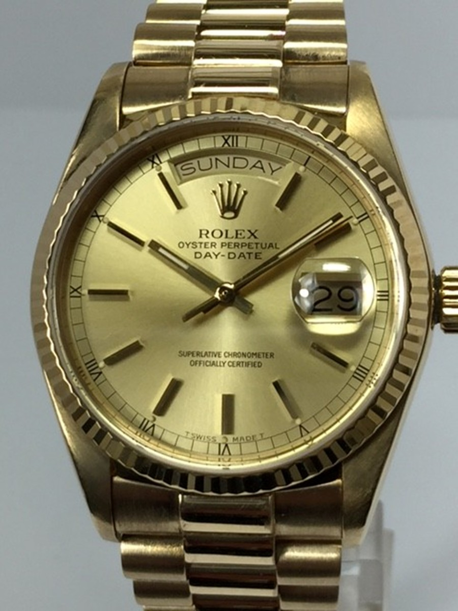 Rolex Day-Date watch with Very Tight Presidential style Bracelet Ref: 18038