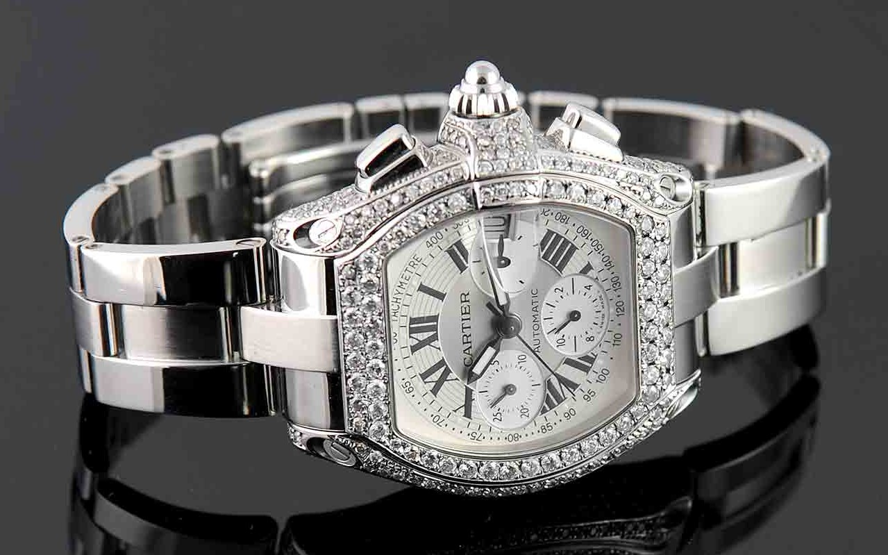 Cartier Roadster Chronograph XL Stainless Steel Diamond Watch Ref: W62019X6