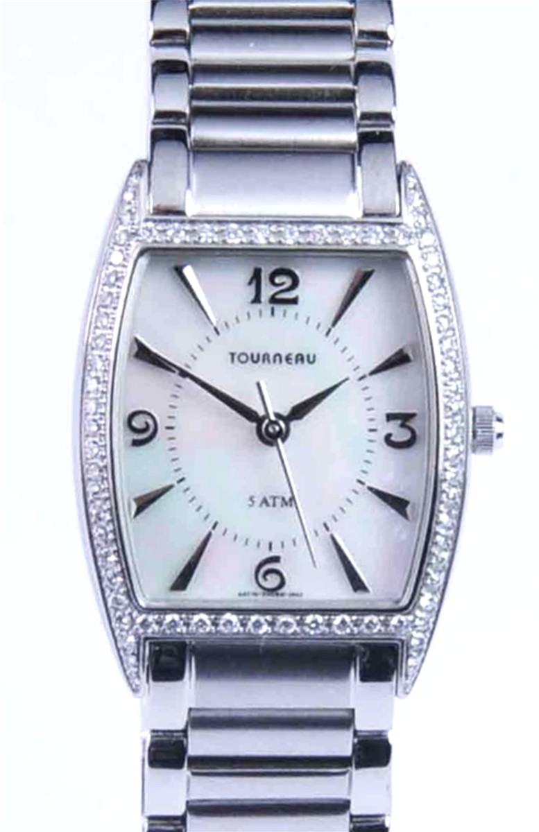 Ladies Tourneau watch with Mother-of-Pearl dial and Diamond Bezel