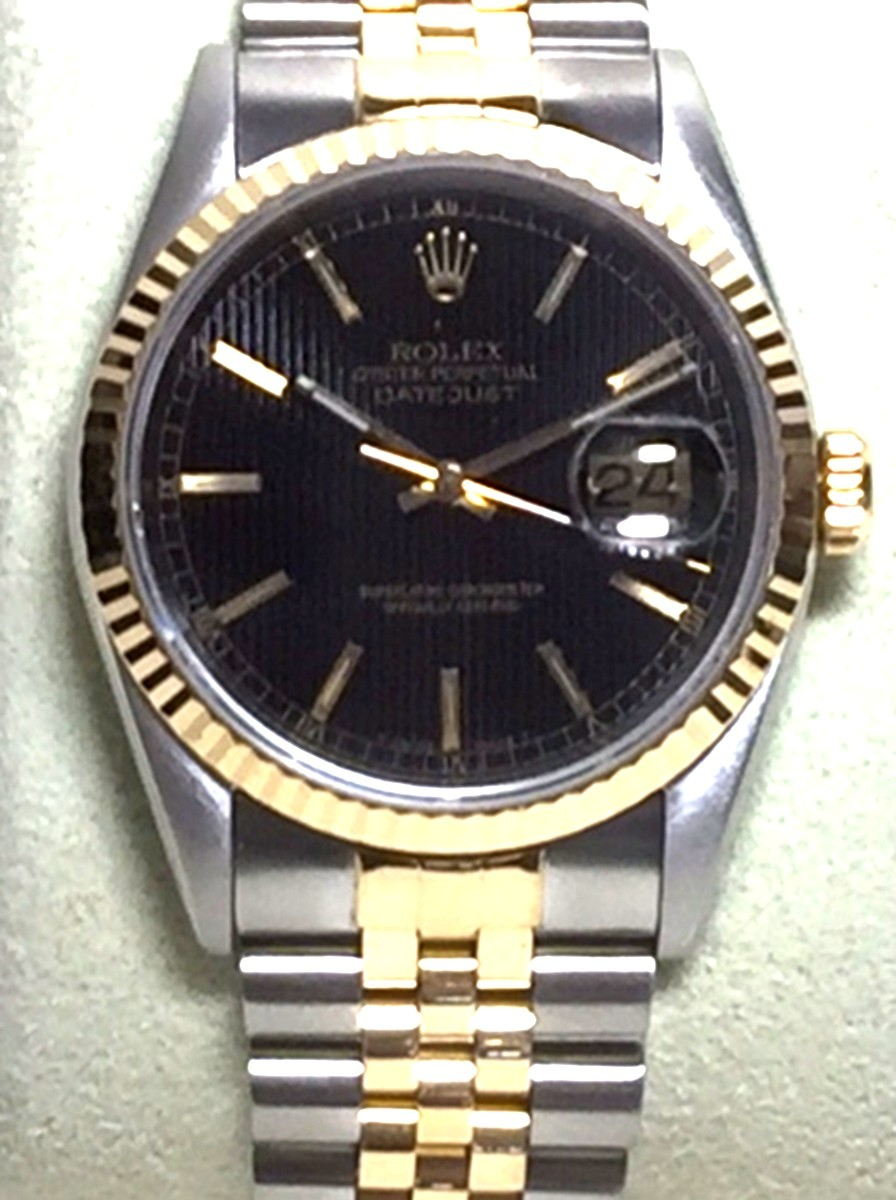 Men's 36mm Stainless Steel & 18Kt Gold Rolex DateJust Model No: 16233