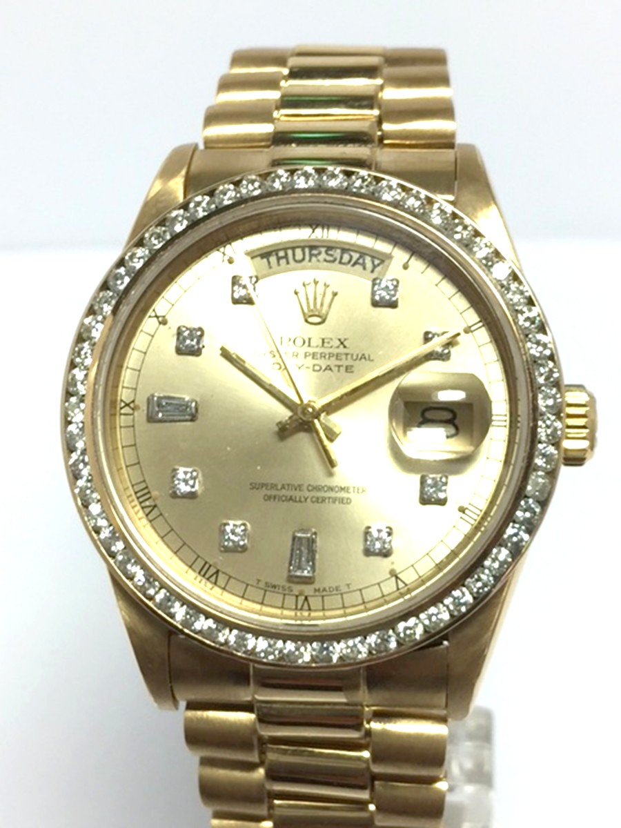 Rolex Day-Date watch with Presidential style Bracelet Diamond Dial & Bezel Ref: 18038