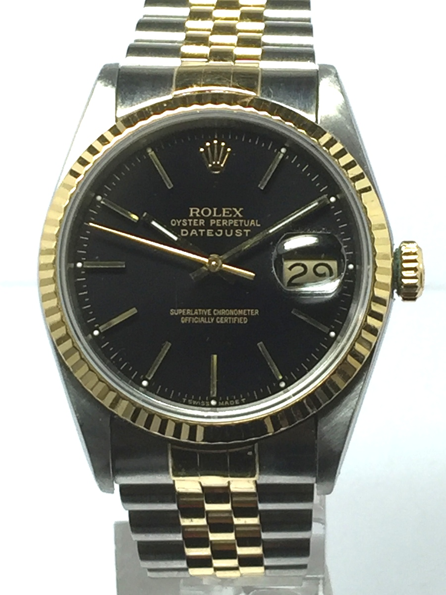 Men's 36mm 18K Stainless Steel Rolex DateJust Model No: 16233