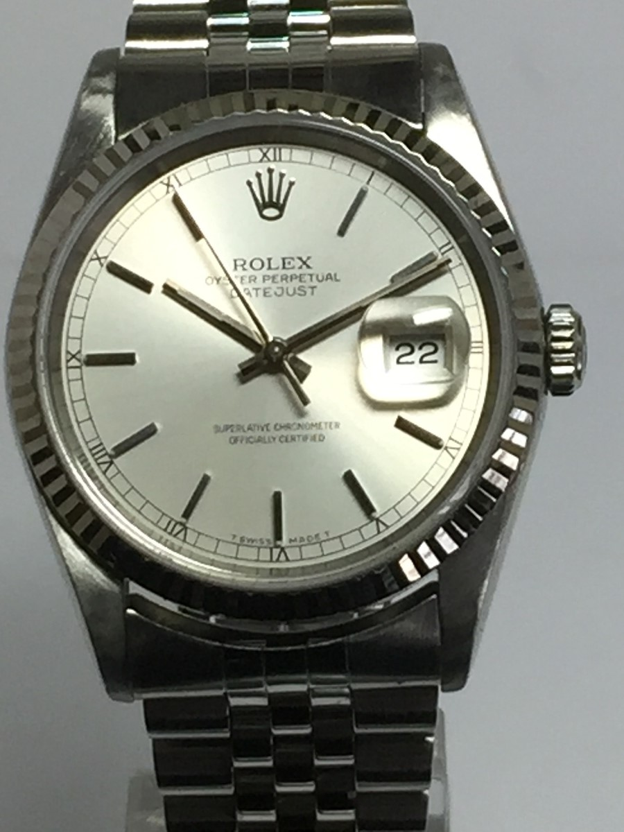 Men's 36mm Stainless Steel Rolex DateJust Model No: 16234